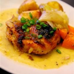 Honey Baked Chicken II Recipe and Video - Curried honey mustard imparts a golden hue to tender baked chicken.