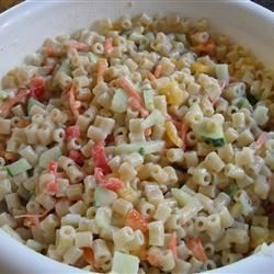 Best Macaroni Salad Recipe - Very easy and delicious!  I am constantly asked to bring this salad to parties and picnics.  The cheese and ham are key additions to an old favorite.