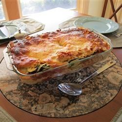 Lasagna Recipe - This vegetarian lasagna is layered with spinach, mushrooms, and zucchini, along with ricotta, Parmesan, and mozzarella cheeses and a homemade tomato sauce.