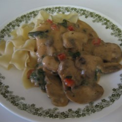Chicken and Mushrooms with Noodles