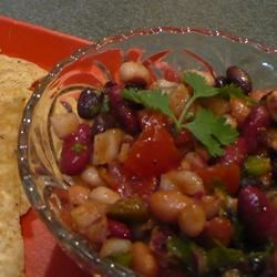 Mexican Spicy Bean Salad Recipe - Lots of taste sensations in this colorful, spicy, and refreshing bean salad.