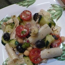 Greek Goddess Pasta Salad Recipe - This is a deliciously decadent, filling, and easily vegan pasta salad that I made up on the spot to bring to a potluck.  It's so versatile, you can add or omit almost anything!