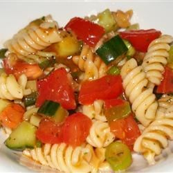 Gazpacho Pasta Salad Recipe - A delightful summer pasta salad. Lime-tomato dressing with a jalapeno gives it a kick.