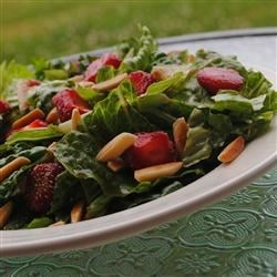 Nutty Fresh Strawberry Salad Recipe - This sweet tasting salad of fresh greens and strawberries is perfect for spring and summer outings.
