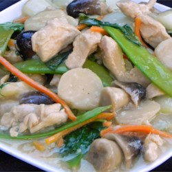 Moo Goo Gai Pan II Recipe - Snow peas, bok choy, and water chestnuts join chicken in this take-out favorite.