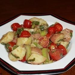 Mediterranean Potato Salad Recipe - Here's a salad with loads of disease-fighting antioxidants in the potatoes, tomatoes, onions, basil, garlic and olive oil. True, white potatoes tend to boost blood sugar, but the vinegar in this recipe helps to suppress such rises, making this a healthful salad.