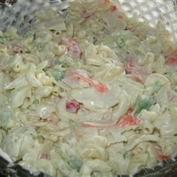 Creamy Crab and Pasta Salad Recipe - Crabmeat and pasta are tossed with a creamy seasoned sauce in this great chilled salad.