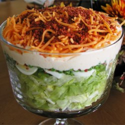 Twenty-Four Hour Salad Recipe - A layered green salad with green peas, celery, bell peppers, Cheddar cheese, and bacon sprinkled over all. For other variations, I have substituted or added some of my own favorite ingredients, such as: carrots, eggs, mushrooms, sprouts, and seeded cucumbers.