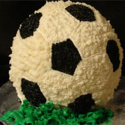 Soccer Ball Cake Recipe - Neat way to make a ball-shaped cake. Use your favorite flavor of cake mix.