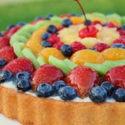 Fruit Galore Sponge Cake Recipe - A store-bought sponge cake is infused with vanilla syrup and then topped with blueberries, strawberries, and fresh whipped cream.