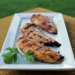 Honey Mustard Grilled Chicken Recipe and Video - A creamy honey mustard basting sauce gets added zip from steak sauce in this quick and easy grilled chicken recipe.
