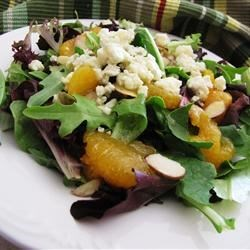 Mandarin Orange, Gorgonzola and Almond Delight Recipe - Gorgonzola is great with oranges. Oranges are great with gorgonzola. And the orange vinaigrette dressing is great with everything.