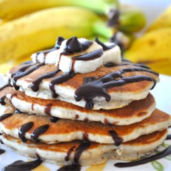 Chunky Monkey Pancakes Recipe - These chocolate and banana pancakes are a delicious breakfast treat.