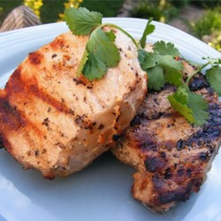 Grilled Lemon Herb Pork Chops Recipe - These are SO SIMPLE, yet so good - they taste just like steak! The chops can also be broiled in the oven.