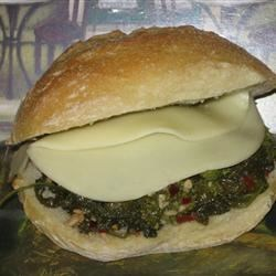 Italian Broccoli Rabe Grinder Recipe - Provolone cheese, pepperoni, and broccoli rabe blend into a delightful filling for a traditional Italian grinder.