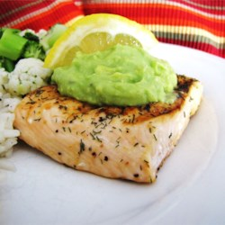 Grilled Salmon with Avocado Dip Recipe - Grilled salmon is served with a creamy avocado dip made with yogurt.