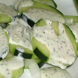 Cucumber Salad Recipe - A cool cucumber salad with low fat dressing that is great for bar-b-ques.