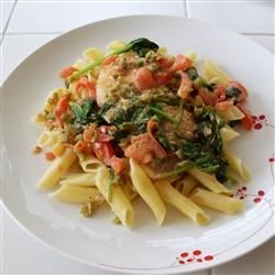 Jalapeno Garlic Tilapia Pasta Recipe - Fresh jalapenos add a kick to this creamy tilapia and pasta dish.