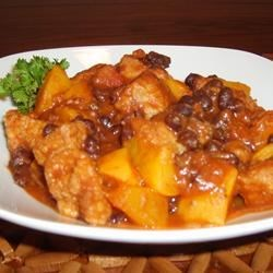 Pork with Peach and Black Bean Salsa Recipe - An unbelievably simple, yet flavorful dish! Serve with rice, a green salad and a nice glass of red wine. It's low in fat, too!