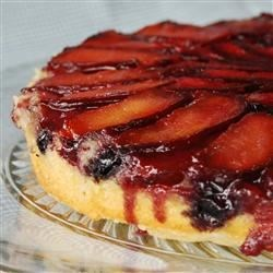 Plum Blueberry Upside Down Cake Recipe - Use fresh or frozen fruit in this stunning twist on the upside down cake.