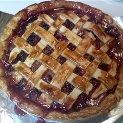 Bluebarb Pie Recipe - Blueberries and rhubarb combine in this tempting summer pie.
