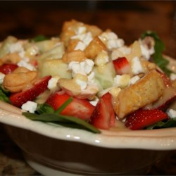 Kim's Spinach Strawberry Salad Recipe - This is a very easy and delicious spinach and strawberry salad with a creamy cashew dressing.