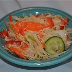 Claremont Salad Recipe - Cabbage, cucumber, carrots and onion marinated in vinaigrette.