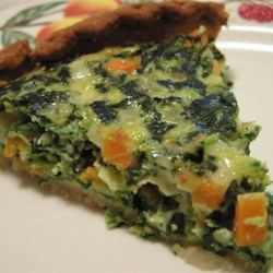 Spinach and Carrot Quiche Recipe - A dense spinach quiche that's good for breakfast, lunch, or dinner!