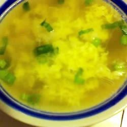 Chinese Egg Soup Recipe - In this simple soup, a beaten egg is slowly poured into a pot of simmering chicken broth with peas.  Serve with sliced green onions.