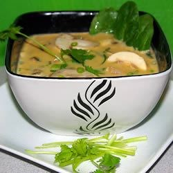 Thai Curry Soup Recipe - This delicious Thai-style soup has coconut milk, shrimp, mushrooms, and spinach. Chicken may be substituted for the shrimp; either way, I love this soup anytime!