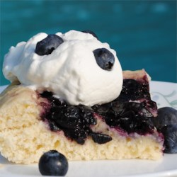 Finnish Blueberry Pie Recipe - A traditional Finnish blueberry pie has a layer of sweetened fresh blueberries on top of a sugar cookie-like crust.