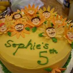 Gum paste sunflower bday cake