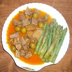 Beef Tongue with steamed asparagous