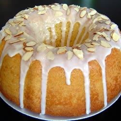Glazed Almond Bundt Cake Recipe - A delicious Bundt cake using ground almonds, sliced almonds, and almond extract.