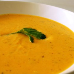 Butternut Squash Soup Recipe and Video - Cream cheese is blended into this pureed soup of  winter squash and onion which have been cooked in a seasoned chicken stock.