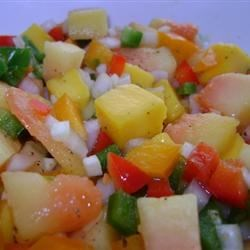 Mango Papaya Salsa Recipe - This fresh salsa for summer uses orange and red bell peppers as well as jalapeno pepper mixed with mango and papaya.