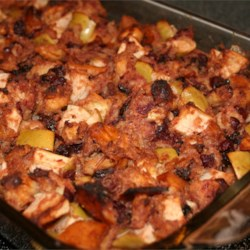 Cranberry Apple Raisin Stuffing Recipe - This stuffing is great for vegetarians and non-vegetarians. It has a wonderful light and fruity taste. Since most of my family has been vegetarian for 25 years, we make this stuffing in a casserole instead of stuffing it in the turkey. You can, however, stuff the turkey with it and it is just as good!