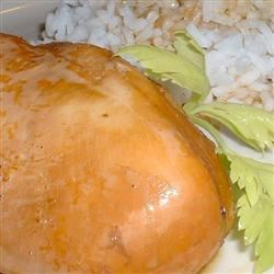 Chicken Unitarian Recipe - This simple main dish recipe is for chicken baked in a mixture of ginger, garlic, white wine, and soy sauce.