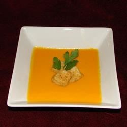 Carrot Soup Recipe - This pureed soup of carrot with a hint of dill would make an elegant first course at a Thanksgiving feast or any other special occasion.