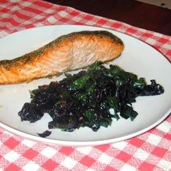 Salmon with Dill, served with Wilted Sauteed Chard
