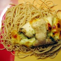 Lemon Pepper Pasta topped with Pesto Cheesy Chicken Roll
