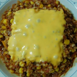 Texas Hash Recipe - A wonderful blend of vegetables, rice and ground beef. All you need is a crisp green salad and a nice warm loaf of sourdough bread to top it all off.
