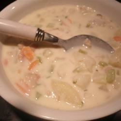 Mari's Clam Lovers Chowder Recipe - A rich and creamy chowder loaded with potatoes, onion, carrots and clams, with a splash of red wine vinegar; seasoned with salt and pepper. Serve with oyster crackers, or sourdough bread.