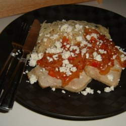 Pork Chops with Fresh Tomato, Onion, Garlic and Feta