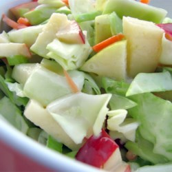Easy Apple Coleslaw Recipe and Video - This is our favorite cole slaw recipe, a yummy combo of fruit and veggies in a sweet dressing.