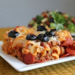 Pizza Pasta Recipe - Rotini baked with ground beef, pepperoni and spaghetti sauce.