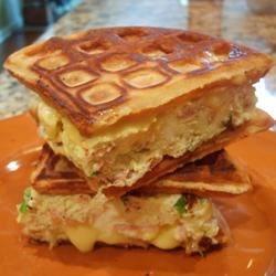 Homemade Waffle and Egg Sandwich
