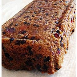 Christmas Fruitcake Recipe - It's a shame that fruitcake as a species gets such a bad rap. With its two key ingredients--rum and butter--it ought to be a hit. This recipe includes dried cherries, mango, cranberries, and currants soaked in rum overnight (a week or a month or more is even better). After it's baked, it ages in cheesecloth with additional splashes of rum. Let it ripen for 10 weeks for best flavor.