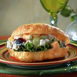 Sunflower Chicken Salad Recipe - Sunflower seeds and cheese distinguish this chicken salad from the rest.  Tossed with grapes and celery in a basic mayonnaise dressing.