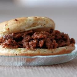 Mom's Shredded Elk Sandwiches Recipe - Reminiscent of sloppy joes, this recipe can be used with elk or venison - it takes away that gamey taste!